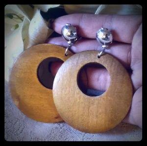 Vintage Large Wooden Hoop Earrings